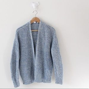 Gap Knitted Cardigan Sweater Blue White Thick